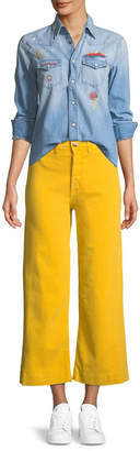 MiH Jeans Caron High-Rise Cropped Wide Leg Pants