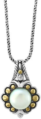 "Effy Cultured Freshwater Pearl (9mm) 18"" Pendant Necklace in Sterling Silver & 18k Gold"