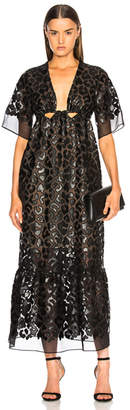 Stella McCartney Leopard Print Burnout Plunging Gown