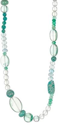 Stephen Dweck Sterling Silver Mixed Green Stone Necklace