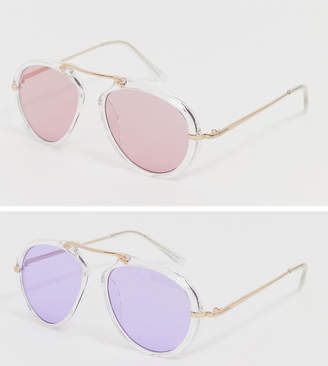 7X 2 Pack Tinted Lens Aviator Sunglasses