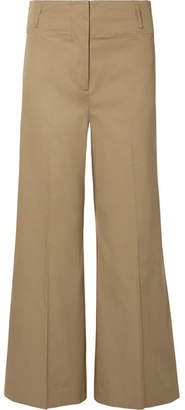 By Malene Birger Kalanna Cotton-blend Canvas Wide-leg Pants - Army green