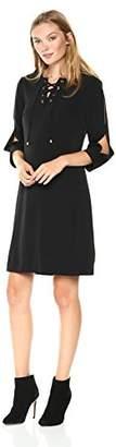 Jones New York Women's 3/4 Slit Sleeve New Lace up Shirt Dress