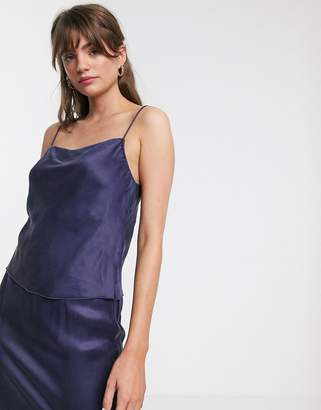 And other stories &  cowl-neck cami top in deep blue