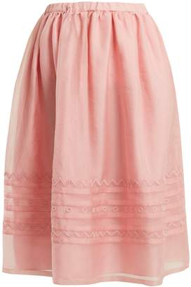 JUPE BY JACKIE Griggs embroidered silk-organza midi skirt