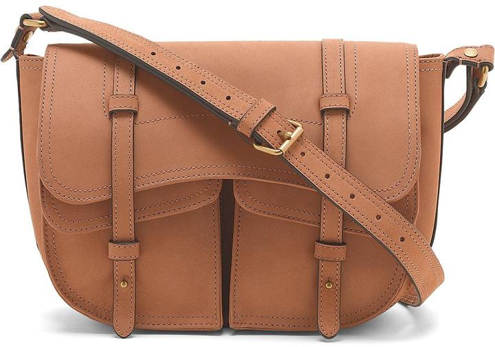 Brooks Brothers Nubuck Double-Pocket Large Crossbody Bag