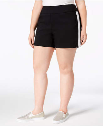 INC International Concepts I.n.c. Plus Size Racing-Stripe Shorts, Created for Macy's