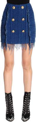 Balmain Fringed Knit Mini Skirt