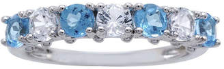 FINE JEWELRY Genuine Blue Topaz and Lab-Created White Sapphire Sterling Silver Band Ring