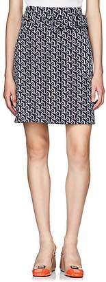 Prada Women's Geometric-Pattern Jacquard-Knit Pencil Skirt - Blue