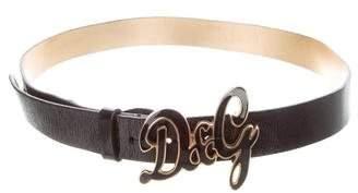 Dolce & Gabbana Leather Logo Buckle Belt