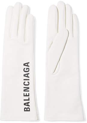 Balenciaga Printed Leather Gloves - White