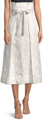 Rebecca Taylor Magic Garden High-Waist Eyelet Midi Skirt