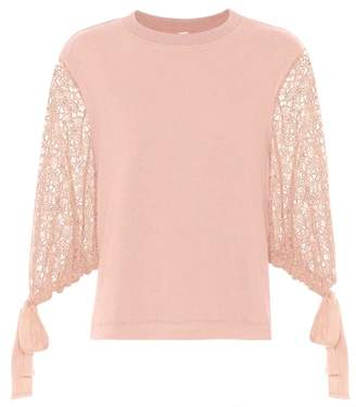 See by Chloe Lace and cotton top