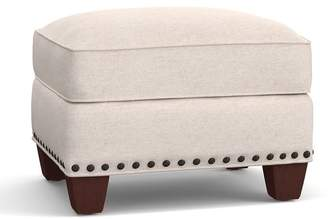Pottery Barn Irving Upholstered Storage Ottoman with Nailheads