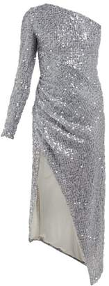 Galvan Mamounia Asymmetric Sequinned Tulle Dress - Womens - Silver