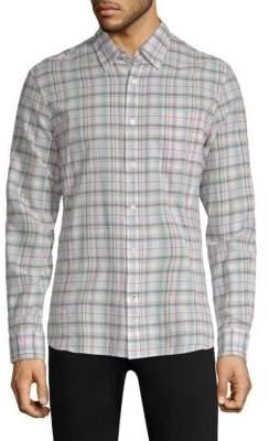 John Varvatos Plaid Roll-Up Button-Down Shirt