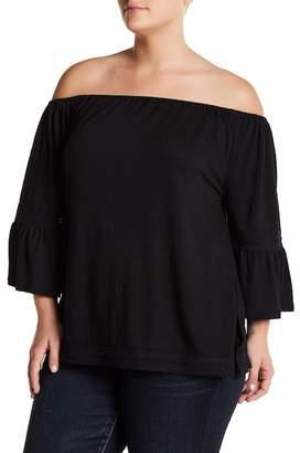 Cable & Gauge Off-The-Shoulder Crochet Trim Bell Sleeve Blouse (Plus Size) $68 thestylecure.com