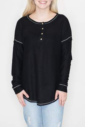 Cherish Black Thermal Henley