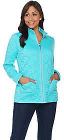 Denim & Co. Long Sleeve Lace Zip FrontJacket
