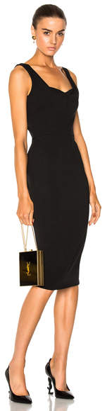 Victoria Beckham Matte Heavy Rib Jersey Drape Cami Curve Fitted Dress