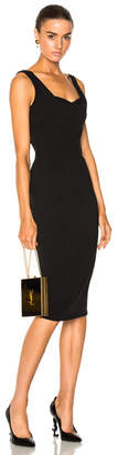 Victoria Beckham Matte Heavy Rib Jersey Drape Cami Curve Fitted Dress