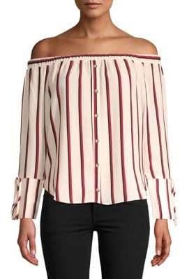 Miss Selfridge Striped Off-the-Shoulder Blouse