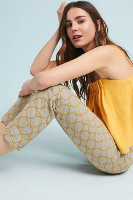Anthropologie Chino By Relaxed Circle Embroidered Chino Trousers