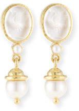 Elizabeth Locke 19k Gold Crane Intaglio & Akoya Pearl Drop Earrings