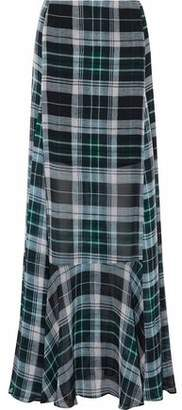 McQ Fluted Checked Silk-Chiffon Maxi Skirt