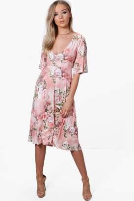 boohoo Rachel Floral Angel Sleeve Midi Skater Dress