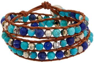 Chan Luu Silver Gemstone & Crystal Leather Wrap Bracelet