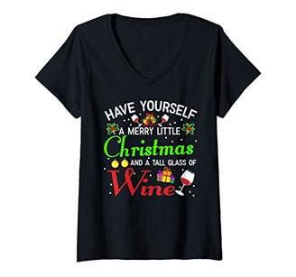 Womens Wine Christmas Tee Have Yourself A Merry Little Christmas V-Neck T-Shirt
