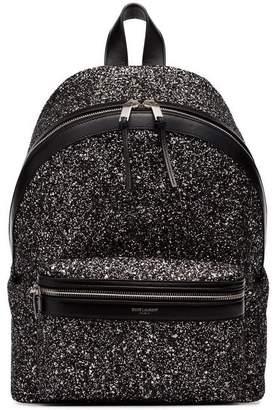 Saint Laurent Black City Glitter Backpack
