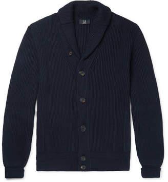 Dunhill Shawl-Collar Ribbed Cotton Cardigan