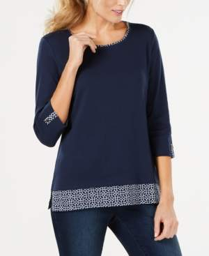 Karen Scott Printed-Trim 3/4-Sleeve T-Shirt, Created for Macy's