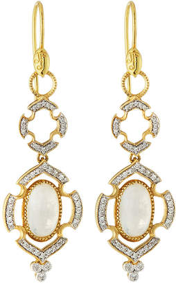 Jude Frances 18K Malta Double Pavé Oval Stone Earrings, Moonstone