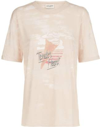 Saint Laurent Worn Ice Cream Logo T-Shirt