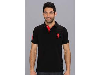 U.S. Polo Assn. Slim Fit Big Horse Polo w/ Stripe Collar Men's Short Sleeve Pullover