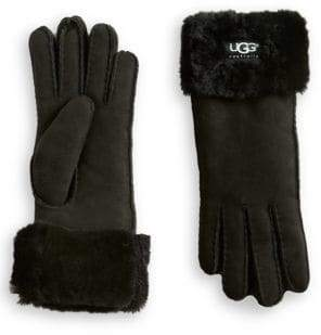UGG Shearling Cuff Suede Gloves
