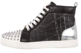Christian Louboutin Spiked High-Top Sneakers Silver Spiked High-Top Sneakers