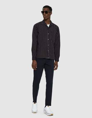 Gitman Brothers Striped Twill Shirt in Navy