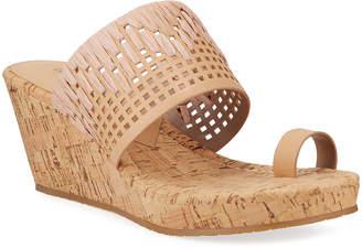 Donald J Pliner Cutout Leather Cork-Wedge Sandals