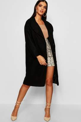 boohoo Oversized Double Breasted Longline Wool Look Coat