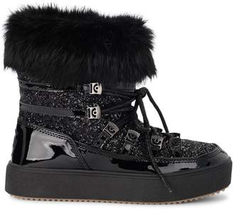 Chiara Ferragni Flirting Eyes Black Leather And Glitter Apres-ski Boots