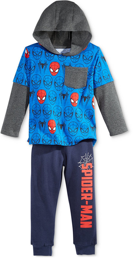 Nannette Little Boys' 2-Pc. Spider-Man Graphic-Print Hoodie & Pants Set