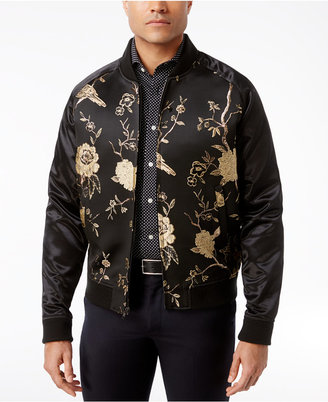 Tallia Men's Slim-Fit Black and Metallic Silver Embroidered Bomber Jacket $295 thestylecure.com