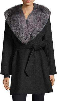 Sofia Cashmere Oversize Fox Fur Collar Wrap Coat