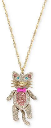 "Betsey Johnson Gold-Tone Pave Cat Pendant Necklace, 40"" + 3"" extender"