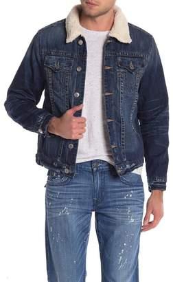 True Religion Faux Shearling Collar Denim Jacket
